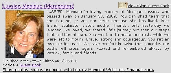 Here is the Memoriam found in the Ottawa Citizen and Rockland Vision.